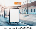 glass city bus stop with mock... | Shutterstock . vector #656736946