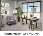 modern home office room with... | Shutterstock . vector #656747290