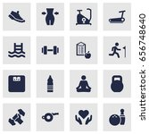 set of 16 fitness icons set... | Shutterstock .eps vector #656748640