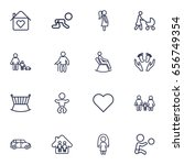 set of 16 family outline icons... | Shutterstock .eps vector #656749354