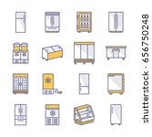 refrigerators flat line icons.... | Shutterstock .eps vector #656750248