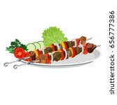 shish kebab on the plate.... | Shutterstock .eps vector #656777386