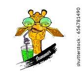 illustration of giraffe in... | Shutterstock .eps vector #656781490