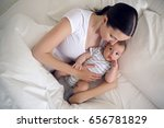 mom with a newborn son lying on ... | Shutterstock . vector #656781829