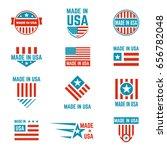 made in usa flag emblem set ... | Shutterstock .eps vector #656782048