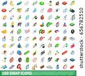 100 swap icons set in isometric ...