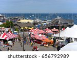Small photo of ROCKLAND, ME, USA - AUG. 1, 2015: Aerial view of Rockland Harbor during Rockland Lobster Festival in summer, Rockland, Maine, USA.