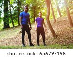 two guys resting after a run  | Shutterstock . vector #656797198