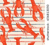 Seafood Seamless Pattern Retro...