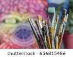 diferent brushes in... | Shutterstock . vector #656815486