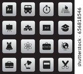 set of 16 editable education... | Shutterstock .eps vector #656818546