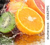 Fruit In A Spray Of Water...