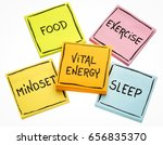 Small photo of vital energy concept - food, exercise, mindset and sleep handwritten on colorful sticky notes isolated on white