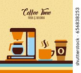 coffee maker flat illustration | Shutterstock .eps vector #656838253