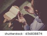 muslim man praying in mosque ... | Shutterstock . vector #656838874