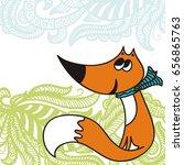cute cartoon fox. vector... | Shutterstock .eps vector #656865763