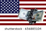 us dollars on the flag of...