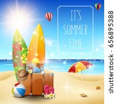 beautiful summer beach and... | Shutterstock .eps vector #656895388