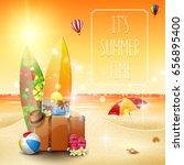 beautiful summer beach and... | Shutterstock .eps vector #656895400