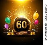 60 years golden anniversary... | Shutterstock .eps vector #656910040