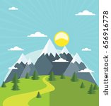 summer mountains with snow... | Shutterstock .eps vector #656916778
