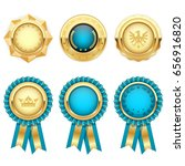 turquoise award rosettes and... | Shutterstock .eps vector #656916820