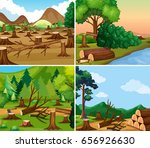 four different scenes of... | Shutterstock .eps vector #656926630