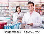 young team of a pharmaceutist... | Shutterstock . vector #656928790