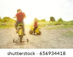 child on a bicycle at asphalt... | Shutterstock . vector #656934418