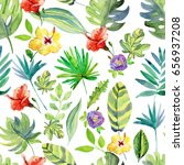 tropical flowers and leaves.... | Shutterstock . vector #656937208