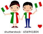smiling children  boy and girl  ... | Shutterstock .eps vector #656941804