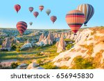 hot air balloon flying over... | Shutterstock . vector #656945830