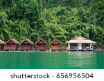 floating bungalows inside khao... | Shutterstock . vector #656956504