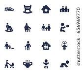 set of 16 family icons set... | Shutterstock .eps vector #656969770