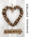 rustic driftwood heart with... | Shutterstock . vector #656975824