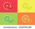 citrus slice on colorful... | Shutterstock .eps vector #656996188