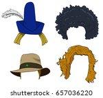 vector cartoon doodle set of... | Shutterstock .eps vector #657036220