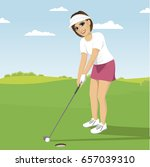 young woman playing golf... | Shutterstock .eps vector #657039310