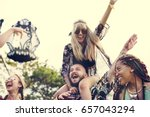 people enjoying live music... | Shutterstock . vector #657043294