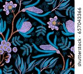 seamless pattern with fantasy... | Shutterstock .eps vector #657043366