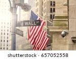 wall street road sign  new york ...   Shutterstock . vector #657052558