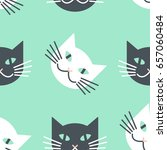 white   black cats faces... | Shutterstock .eps vector #657060484