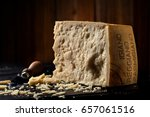 slice of parmesan cheese with... | Shutterstock . vector #657061516