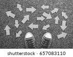 sneakers on grunge concrete... | Shutterstock . vector #657083110