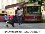 cafe tram in city park | Shutterstock . vector #657095074