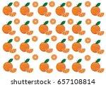 set of oranges on white... | Shutterstock .eps vector #657108814