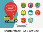 scooter rental vector items set....