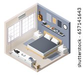 isometric interior  room of a...   Shutterstock .eps vector #657141643