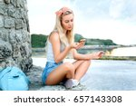 young woman blonde girl summer... | Shutterstock . vector #657143308