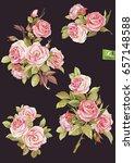 vector set of isolated rose... | Shutterstock .eps vector #657148588